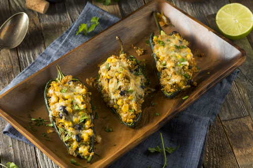 Stuffed roblano peppers with corn and beans