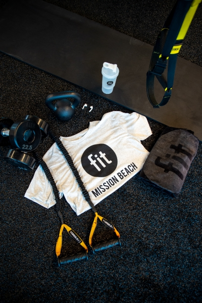 fit mission beach shirt with workout gear